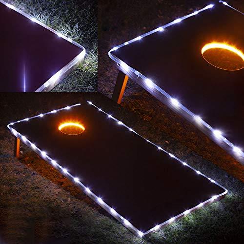 Blinngo Cornhole Ring Lights and Cornhole Edge Lights, LED Cornhole Lights fit for Standard Cornhole Boards and Cornhole Bags(Gold)