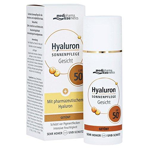 Medipharma Cosmetics Hyaluron Sonnenpflege Gesicht Creme Lsf 50+ Getönt, 100 G