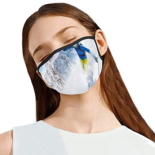 Men's and Women's Dustproof Full Face Protective Mask Skier Skiing Downhill in High Mountains Extreme Winter Sports Hobbies Activity Reusable cotton face mask with Nose Wire Bridge