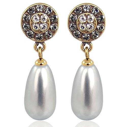 Ohrstecker Perle mit Kristallen von Swarovski® Grau Gold NOBEL SCHMUCK