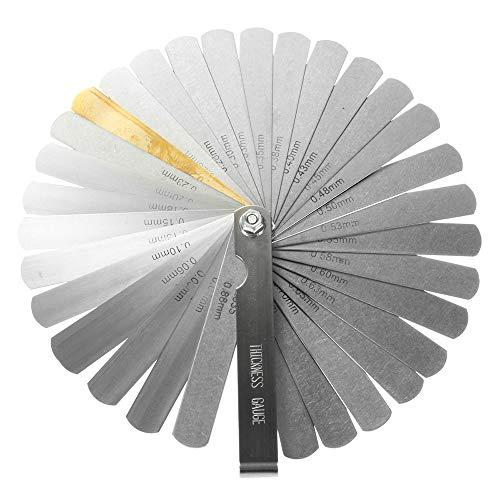 GARANTÍA DE POR VIDA-CZ Store- Calibrador de grosor-juego de 32 calas de acero inoxidable 32 hojas|tamaño 90 MM|calas mecánicas con 2 unidad de medida (pulgadas y métricas) para motor/válvula/galgas