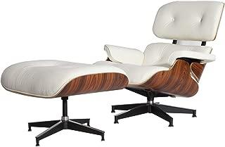 MLF Reproduction of Eames Lounge Chair & Ottoman High-Elastic Polyurethane Foam Cushions. White/Cream Aniline Leather, 7-ply Palisander Laminated Veneer. Cast Aluminum 5