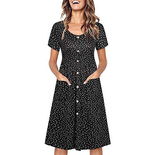 Damen Skater Kleid Sunmmer V-Ausschnitt Button Shirtwaist Kleid Mit Taschen Lässig Kurzarm Knielanges Langes Kleid mit Leopardenstreifen Blumendruck(XL,Schwarz)