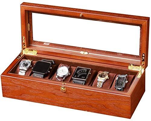 Vitrina de madera para reloj, 6 cajas de almacenamiento de joyas, cajas...