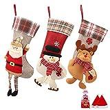 SueH Design Set de 3 Grandes Chaussettes de Noël 48cm | 2 Chapeaux de Père Noël et 1 Pochette à Bonbons Inclus
