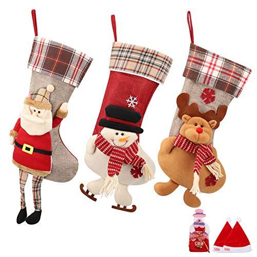 SueH Design Set 3 Pezzi Calza di Natale 48cm | 2 Cappelli di Babbo Natale e 1 Tasca per Caramelle...