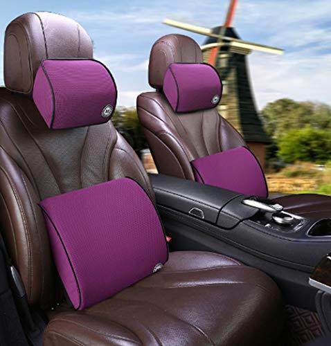 Autostoel rugkussen Onderste rugkussen en nekkussen voor in de auto, hoge dichtheid traagschuim Ergonomisch rugkussen voor spierpijn en spanningsverlichting (paars)