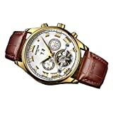 MagiDeal Analoganzeige Elegant Armbanduhr mit Edelstahl Uhrengehäuse Lederband
