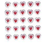 80x adhesiva corazón gemas cristales palo en gemas de acrílico transparente con rojo forma de diamante brillantes adornos, Crafts, invitaciones