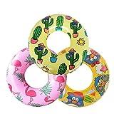 3 Pack Inflatable Pool Tubes for Kids, Toddler Inner Tubes for Floating, Flamingo Swim Tube, Cactus Pool Ring Float, Penguin Pool Floaties for Children, Beach Swimming Ring and Toys for Infant 3-6