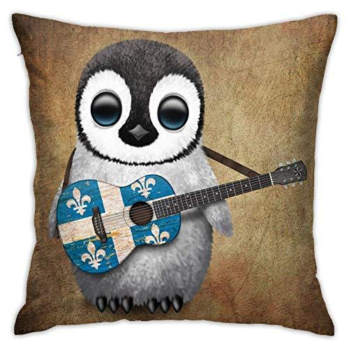 Bebé pingüino Tocando la Bandera de Quebec Funda de Almohada Cuadrada para Guitarra sofá de casa...