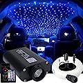 AZIMOM LED Bluetooth 16W RGBW Fiber Optic Light Star Ceiling Lighting Kits Music Mode APP Remote Control Car Home Headliner Interior Decoration 550pcs 0.03in 13.1ft