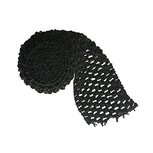 "5 Meters Black 2.75"" wide Crochet Headband Trim Waffle Crochet Elastic Bands Tutu Waistband"