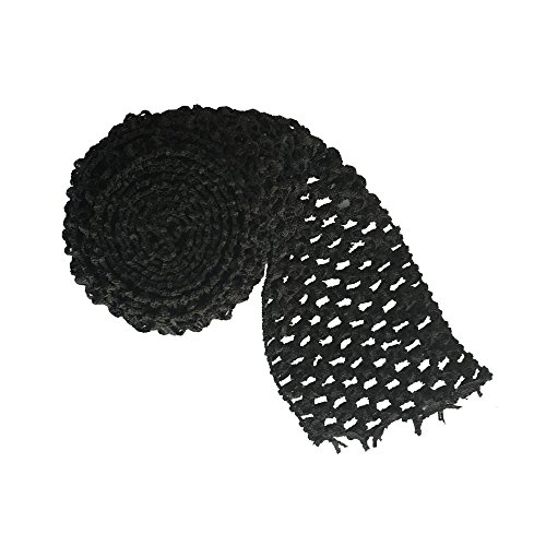 5 Meters Black 2.75' wide Crochet Headband Trim Waffle Crochet Elastic Bands Tutu Waistband