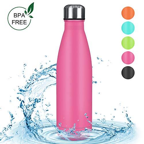 Zorara Edelstahl Trinkflasche, Doppelwandige Thermosflasche 500 mL Trinkflasche BPA Frei Vakuum Isolierflasche Auslaufsichere Sportflasche für Fahrrad Comping Reise (Rose rot)