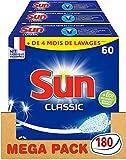 Sun Tablettes Lave-Vaisselle Classique Fabriqué en France 180 Lavages (Lot de 3x60 Tablettes)