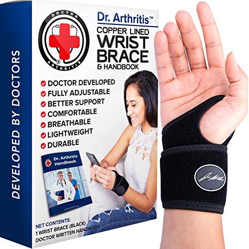 Doctor Developed Copper Wrist Brace / Carpal Tunnel Wrist Brace / Wrist Support / Wrist Splint / Hand Brace -F.D.A. Registered, Class I Medical Device & Doctor Handbook -Night Support for Women & Men -Right & Left hands (Single)