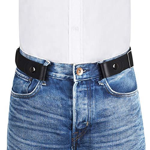 VBIGER Cinturón elástico invisible sin hebilla para hombres Ancho 1.4 Se ajusta a 30 -59 (A-Negro, 120cm)