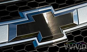 VVIVID Black Chrome Auto Emblem Vinyl Wrap Overlay Cut-Your-Own Decal For Chevy Bowtie Grill, Rear Logo Diy Easy To Install 11.80 Inches x 4 Inches Sheets (x2)