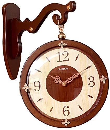Estilo europeo Reloj de pared de doble cara Inspiración Retro europeo Inspiración Creativa Reloj de moda clásico Hierro forjado Reloj redondo con pared enrollable Decoración casera montada en