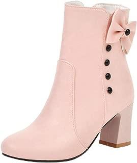 ELEEMEE Women Cute Boots Block Heel Autumn Bootie