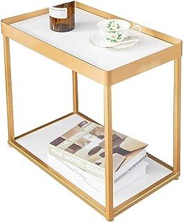 Bseack Tableau Table d'appoint, étagère de Rangement Ouverte Double Couche Table de Coin en Bois Massif d'éolienne à usage...
