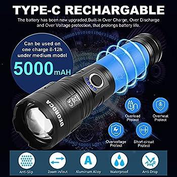 Lampe de poche, torche LED super lumineuse de 7000 lumens, avec power bank, lampes de poche tactiques rechargeables Type-c, torche à main zoomable 5 modes étanche pour le camping et la randonnée