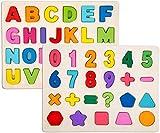 Set di Puzzle in 2 Pezzi per Bambini - Set di Puzzle in Legno per Bambini - Alfabeto ABC, Puzzle educativi per Il riconoscimento dei Numeri per Bambini Ragazze per Ragazzi