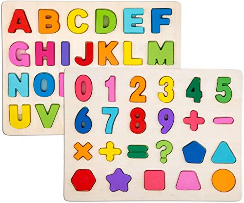 Set di Puzzle in 2 Pezzi per Bambini - Set di Puzzle in Legno per Bambini - Alfabeto ABC,...