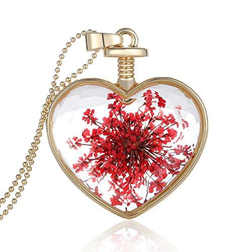 Collar largo Feilok con colgante en forma de corazón y flores secas de cristal transparente para mujer