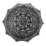 TOPTIE Vintage Lace Parasol, Wedding Bridal Umbrella, Photograph Parasol, Christmas Party Decoration - Black