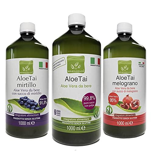 Benessence - Aloe Mix: 1 Succo e Polpa da Bere di Puro Aloe + 1 Aloe e Mirtillo + 1 Aloe e Melograno - Offerta 3 Bottiglie da 1 L (Aloe Mix, 1L x 3 Bottles)