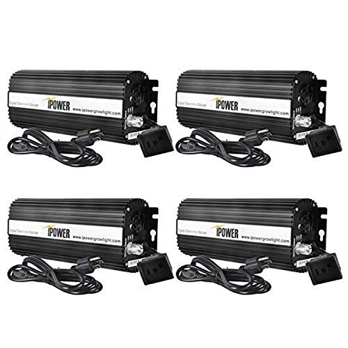 iPower GLBLST1000DX4 4 Pack Horticulture 1000 Watt Digital Dimmable Electronic Ballast for Hydroponics HPS MH Grow Light, 1000W, Black