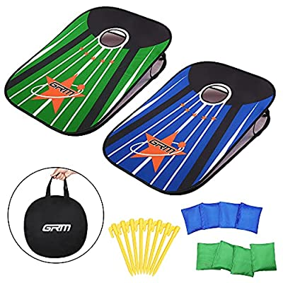 GRM Corn Holes Outdoor Game Set Indoor Portable Cornhole Boards Bean Bag Toss Game, Collapsible Cornhole Set with 8 Bean Bags for Kids Adults Family(3'x2') from GRM