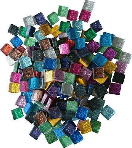 Fliesenhandel Fundus 400g Mosaik 10x10 mm Mosaiksteine ca. 440 Stück (bunt Glitzer)