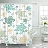 Abaysto Blue Sea Turtles Colorfully Pattern Realistic Engraved Style of on White Green Bathroom Decor Shower Curtain Sets with Hooks Polyester Fabric Great Gift