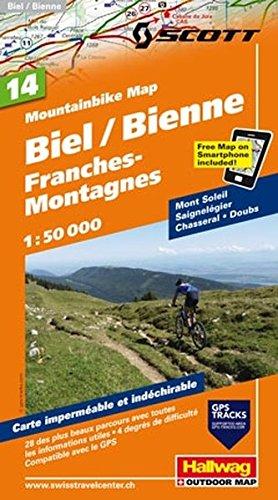 Mountainbike-Karte 14 Biel-Bienne, Berner Jura 1 : 50 000 (Hallwag Mountainbike-Karten)