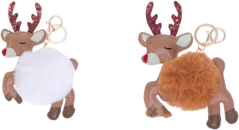 Toyvian 2Pcs Christmas Pom Pom Keychain Elk Plush Keyring for Car Key Ring Handbag Tote Bag Purse