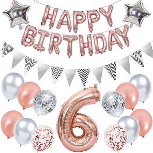 Ouceanwin Decoración de cumpleaños de oro rosa para niños, globos gigantes con el número 6, globos de papel de aluminio, pancartas Happy Birthday, banderines plateados, decoración de 6 años para niñas