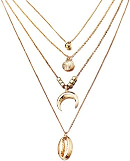 AEVIO Layered Necklaces Choker Long Chain for Women, Boho Gold Ball Shell Moon with Square Beads Conch Pendant Jewelry, Trend All-Match for Girls and Ladies