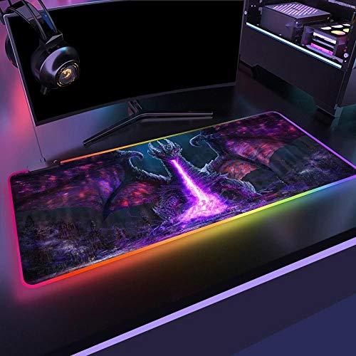 Fire-Breathing Dragon Large Gaming Mouse Pad Gamer Locking Edge Keyboard Mouse Mat Gaming Grande Desk Mousepad for CSGO Games 11.81'x23.62'