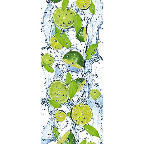Tür Fototapete Türtapete 91x211 cm Türfolie selbstklebend o. Vlies PREMIUM PLUS - Tür Türposter Türpanel Foto Tapete Bild - Limetten Wasser - no. 864, Material:91x211cm Folie (selbstkl.)