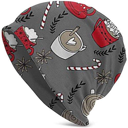 Maselia Heiße Schokolade Weihnachten Pfefferminze Latte Slouchy Beanie für Männer/Frauen Thin Skull Cap Baggy Oversize Strickmütze
