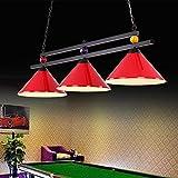 Lampe de billard lumineuse en forme de boule de billard en métal pour partie de bière dans la salle de jeux, lustre industriel avec 3 abat-jours, convient aux tables de billard ou aux îlots de cuisine