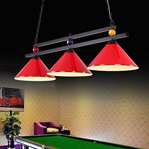 Lámpara de billar ligera de mesa de billar de diseño de bola de metal para la fiesta de la cerveza en la sala de juegos, araña industrial con 3 pantallas, apta para mesas de billar o isla de cocina, s