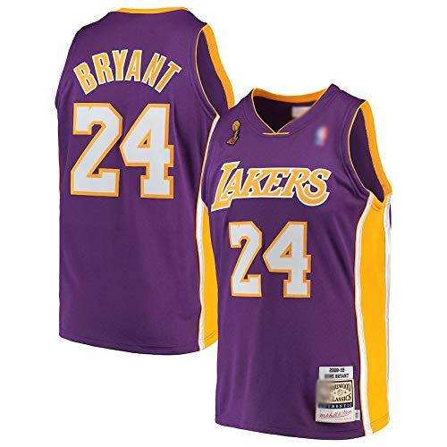 DDDE Camisetas de baloncesto personalizadas Kobe Lakers #24 Los Angeles Bryant Mitchell & Ness 2008-09 Hardwood Classics Jersey Transpirable sin mangas Chalecos Uniform- Morado