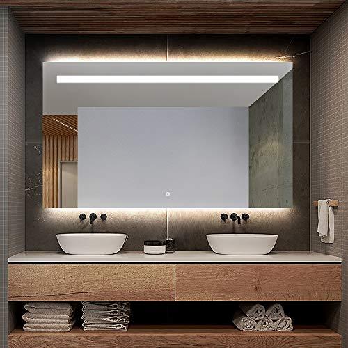 S'bagno Badezimmerspiegel mit Hintergrundbeleuchtung, LED-beleuchtet, 1000 x 700 mm, Bluetooth-Lautsprecher, Demister-Heizkissen, Dimmfunktion, Sensor-Touch-Schalter, kann in 2 Richtungen