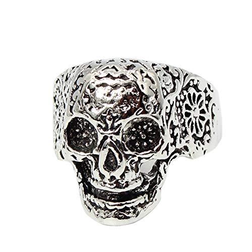 JUSTFOX - 3D roestvrij stalen ring doodskop schedel gothic doodsschedel zilver