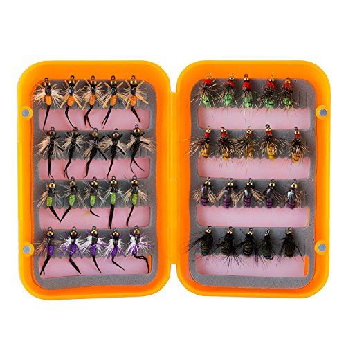 Piscifun 40pcs Wet Flies Fly Fishing Flies Kit Bass Salmon Trouts Flies Floating/Sinking Assortment