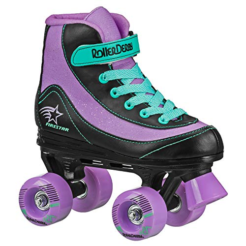Roller Derby Firestar Youth Girl's Quad Roller Skates, Purple/Black/Mint, Size 01